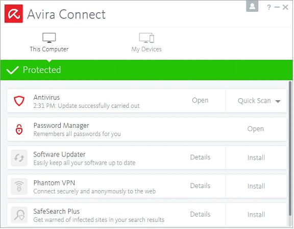 โปรแกรมสแกนไวรัสฟรี Avira Free Antivirus 2019