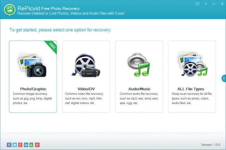 โปรแกรมกู้ข้อมูล RePicvid Free Photo Recovery