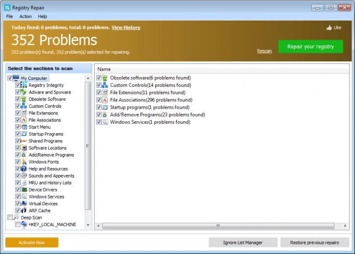 โปรแกรมซ่อม Registry Repair