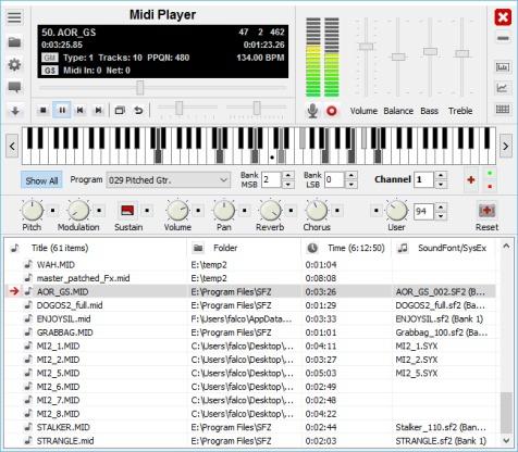 โปรแกรมเล่นเสียง MIDI ฟรี Soundfont Midi Player