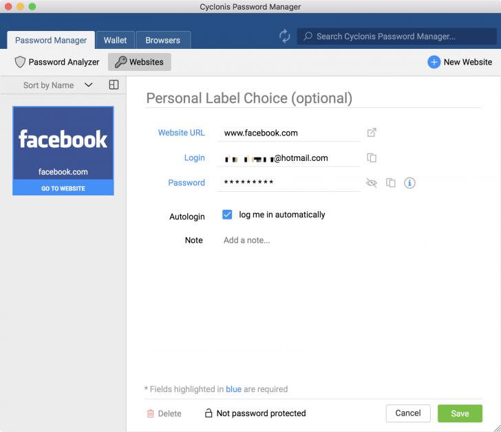 โปรแกรมจัดการรหัสผ่าน Cyclonis Password Manager