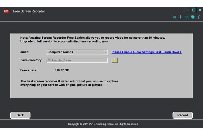 โปรแกรมอัดวีดีโอหน้าจอ จับภาพหน้าจอ Free Screen Recorder