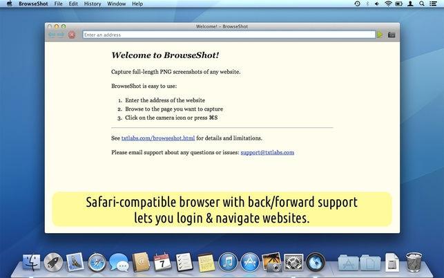 BrowseShot (โปรแกรม BrowseShot บันทึกหน้าจอเว็บไซต์ ทั้งหน้า บนเครื่อง Mac ฟรี) :