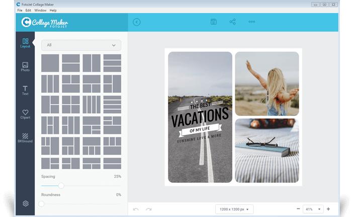 โปรแกรม รวมรูปภาพ จัดรูปภาพ FotoJet Collage Maker