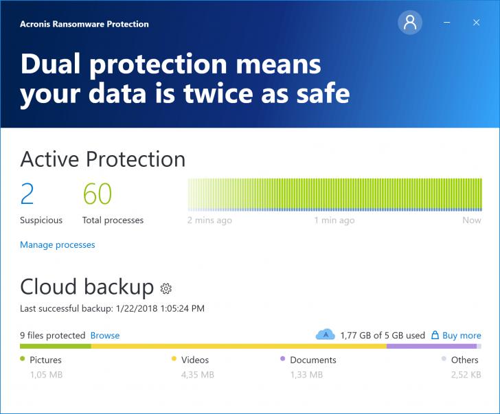 โปรแกรม ป้องกันมัลแวร์เรียกค่าไถ่ Acronis Ransomware Protection