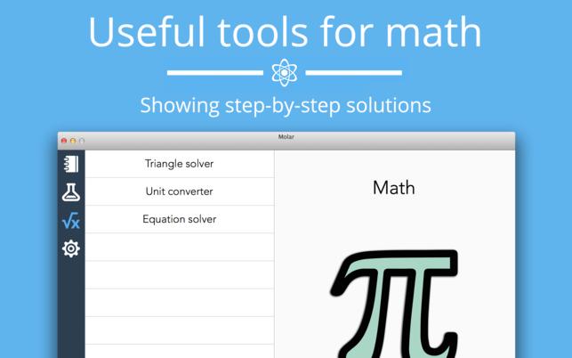 Molar (โปรแกรม Molar เครื่องมือ อ้างอิง เคมี คณิตศาสตร์ สำหรับการศึกษา บน Mac) :