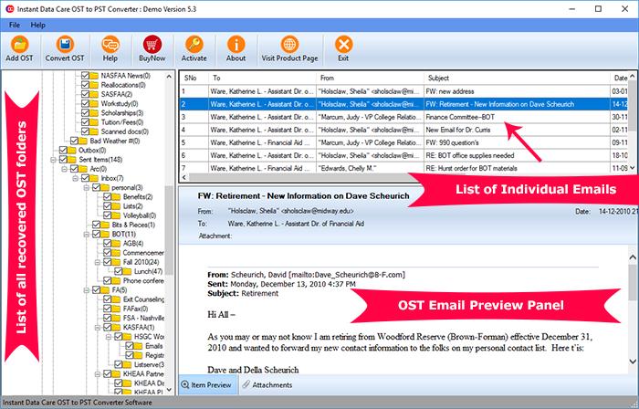 โปรแกรมแปลงไฟล์อีเมล์ Instant Data Care OST to PST