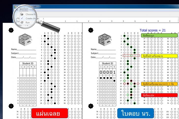 โปรแกรมตรวจข้อสอบจากเครื่องสแกน ACC Scanner-based OMR