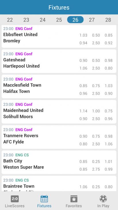 App ดูผลบอล เช็คผลบอล Livescore Odds