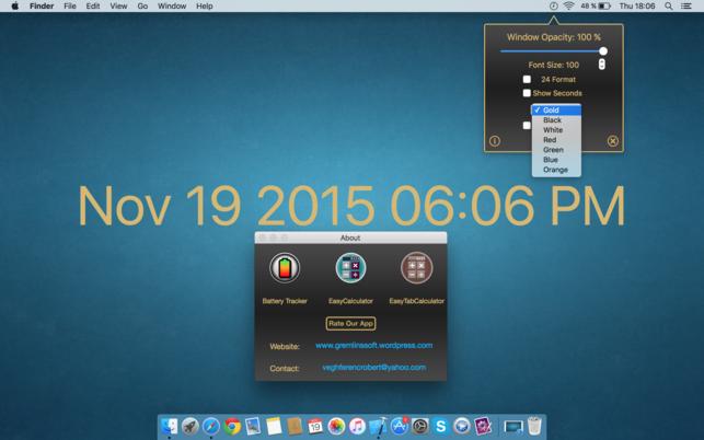 BackgroundClock (โปรแกรม BackgroundClock โชว์นาฬิกาพื้นหลัง Desktop สำหรับ Mac) :
