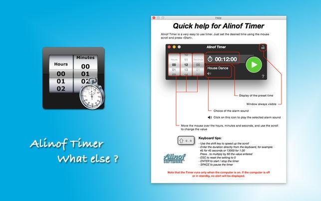 Alinof Timer (โปรแกรม Alinof Timer จับเวลา บนหน้าจอ ง่ายๆ บน Mac) :