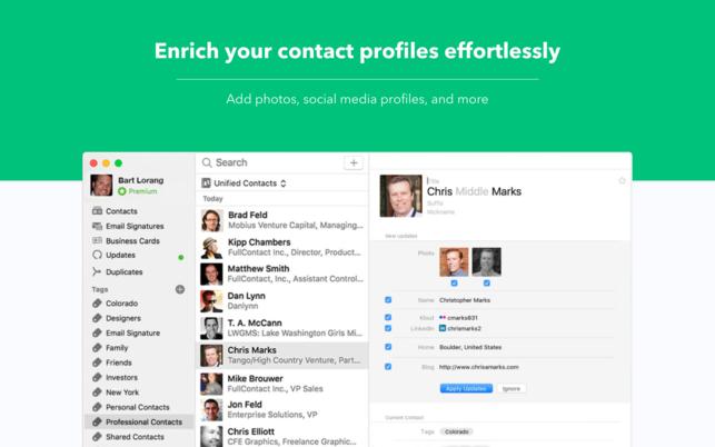 FullContact (โปรแกรม FullContact จัดการรายชื่อผู้ติดต่อ บน Mac) :