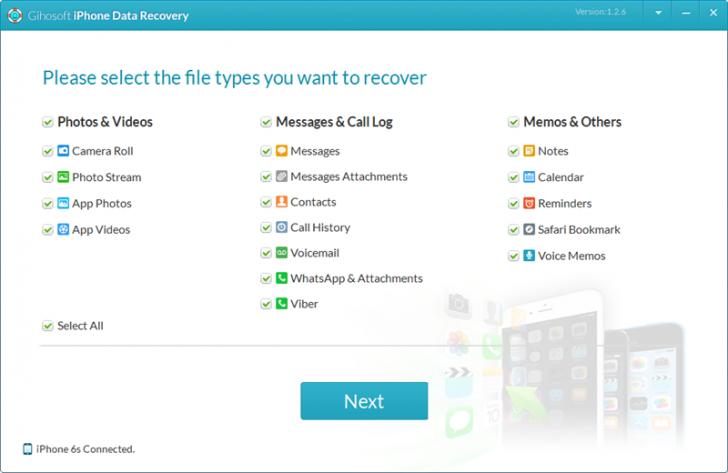โปรแกรมกู้ข้อมูล iPhone Gihosoft iPhone Data Recovery Free