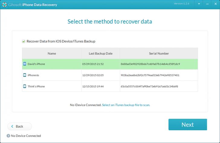 Gihosoft iPhone Data Recovery Free (โปรแกรมกู้ข้อมูลจาก iPhone บน PC ใช้ฟรี) :