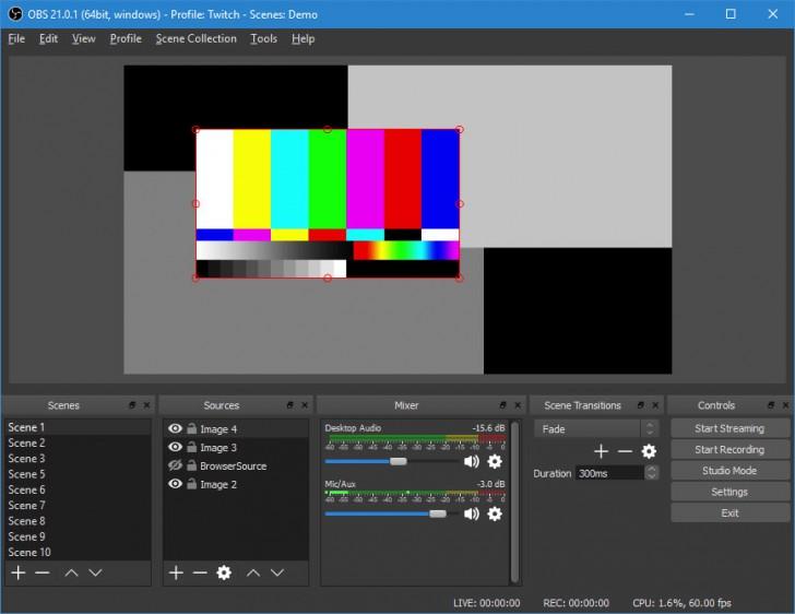 โปรแกรมถ่ายทอดสดหน้าจอ OBS Studio