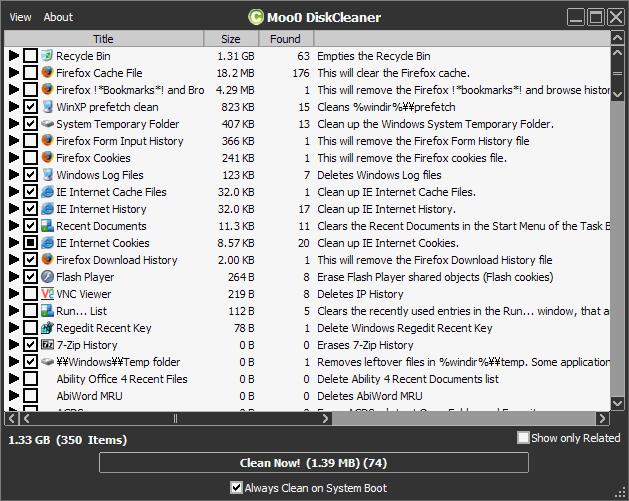 โปรแกรมลบไฟล์ขยะMoo0 Disk Cleaner