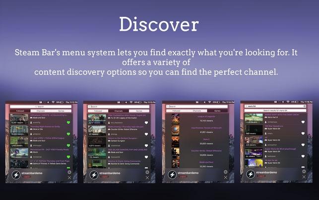 Stream Bar โปรแกรม Stream Bar ดูวีดีโอ ไลฟ์ Twitch ผ่านเมนูบาร์ บน Mac) :