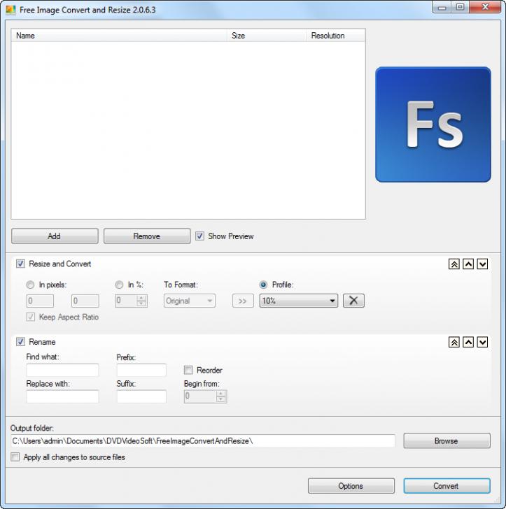 โปรแกรมปรับขนาดรูป แปลงไฟล์ภาพ Free Image Convert and Resize