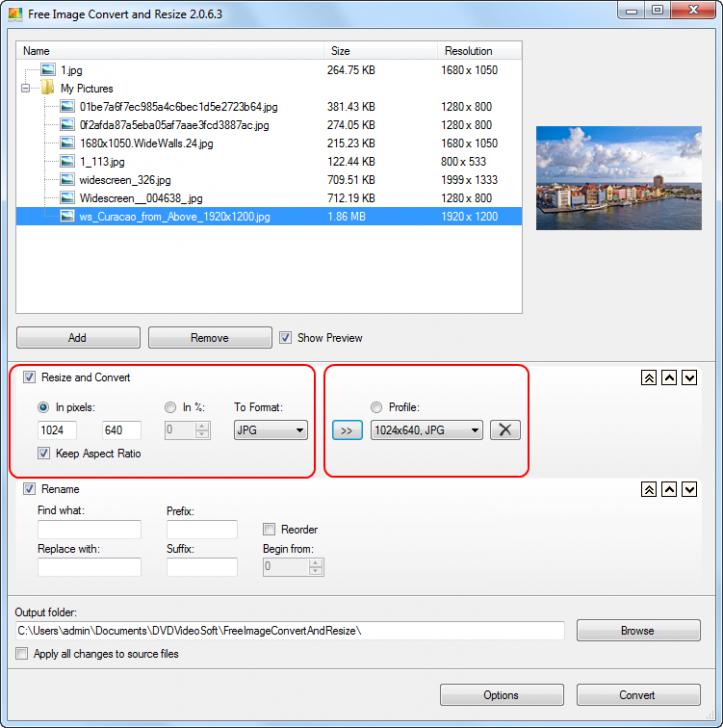 โปรแกรมแปลงไฟล์รูป Free Image Convert and Resize