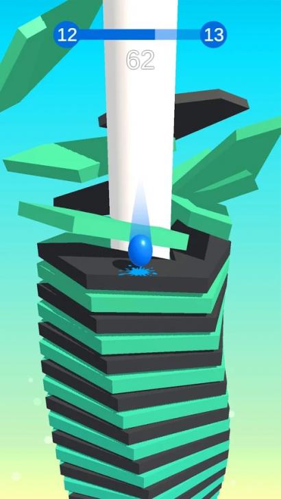 App เกมส์เด้งลูกบอลทลายวงสี Stack Ball