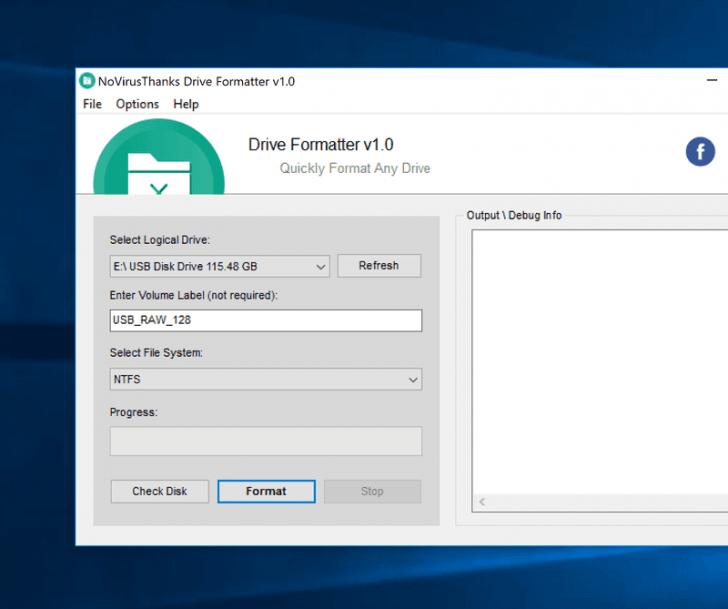 โปรแกรมฟอร์แมตไดรฟ์ Drive Formatter