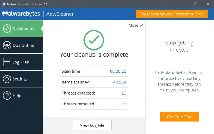 โปรแกรมลบโฆษณา สปายแวร์ AdwCleaner