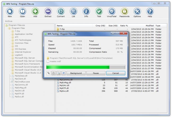 โปรแกรมบีบอัดไฟล์ Zipware